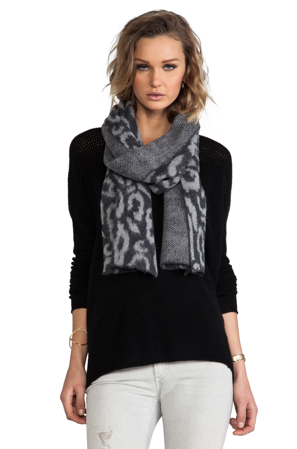 By Malene Birger Soft Jacquard Malle Scarf in Dark Grey Melange