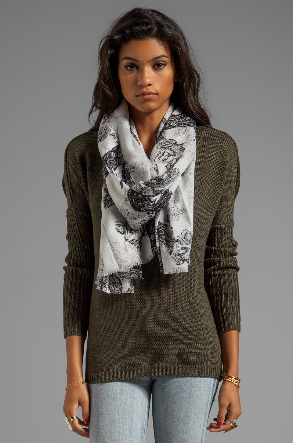 By Malene Birger Printed Wool Ybano Scarf in Milk