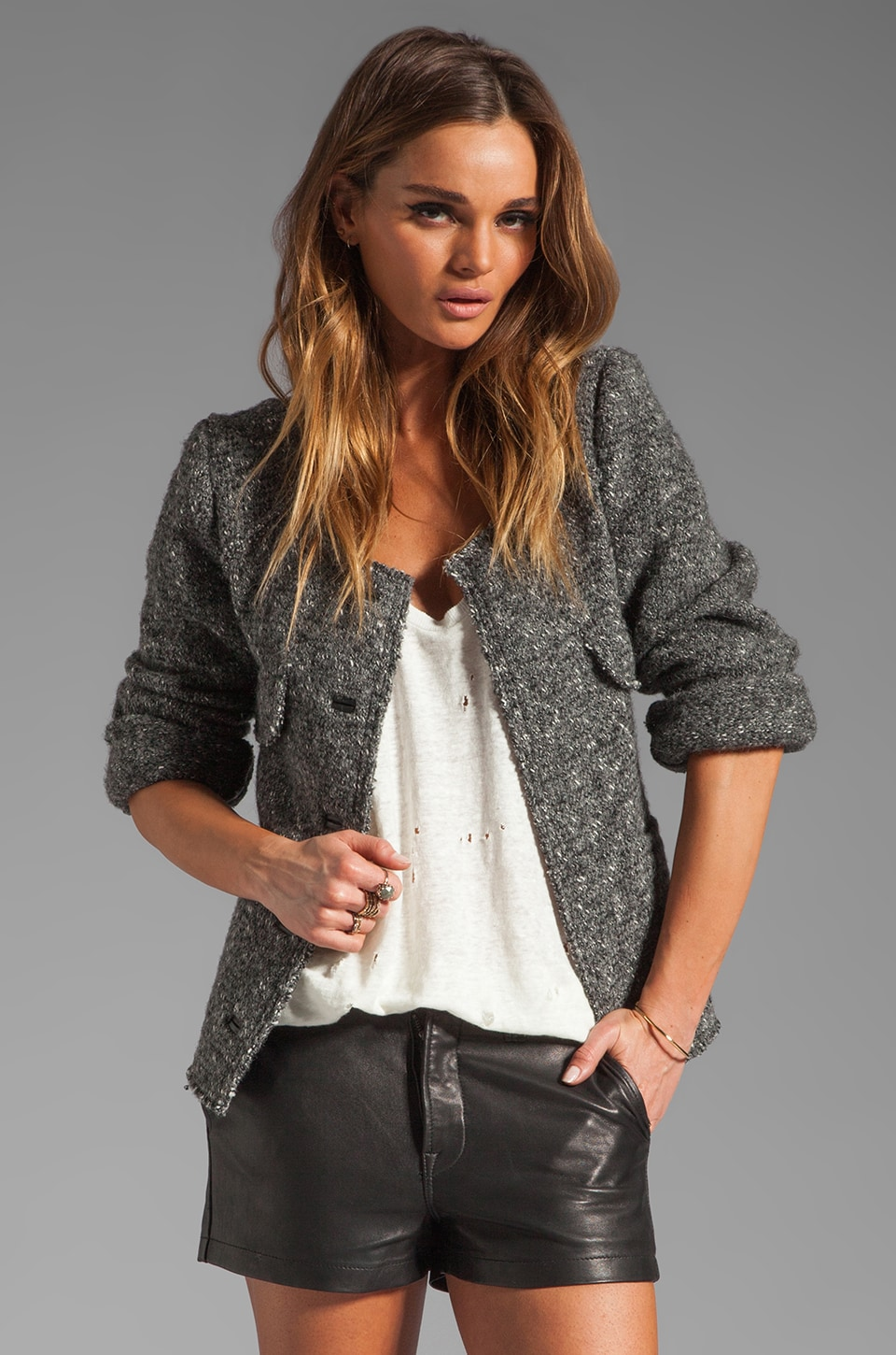 BY ZOE Griffin Boucle Jacket in Grey