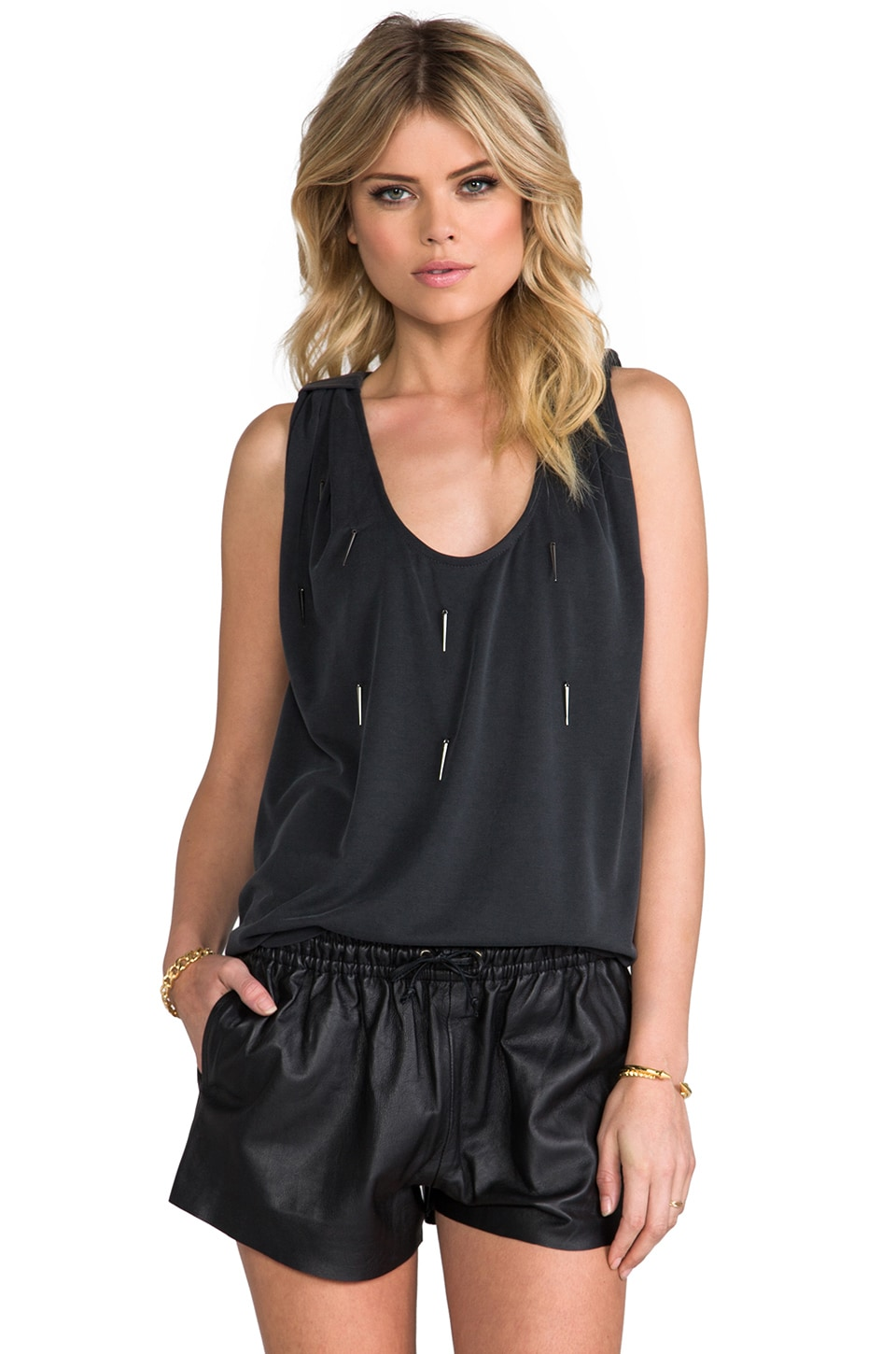 BY ZOE Blister Tank in Charcoal