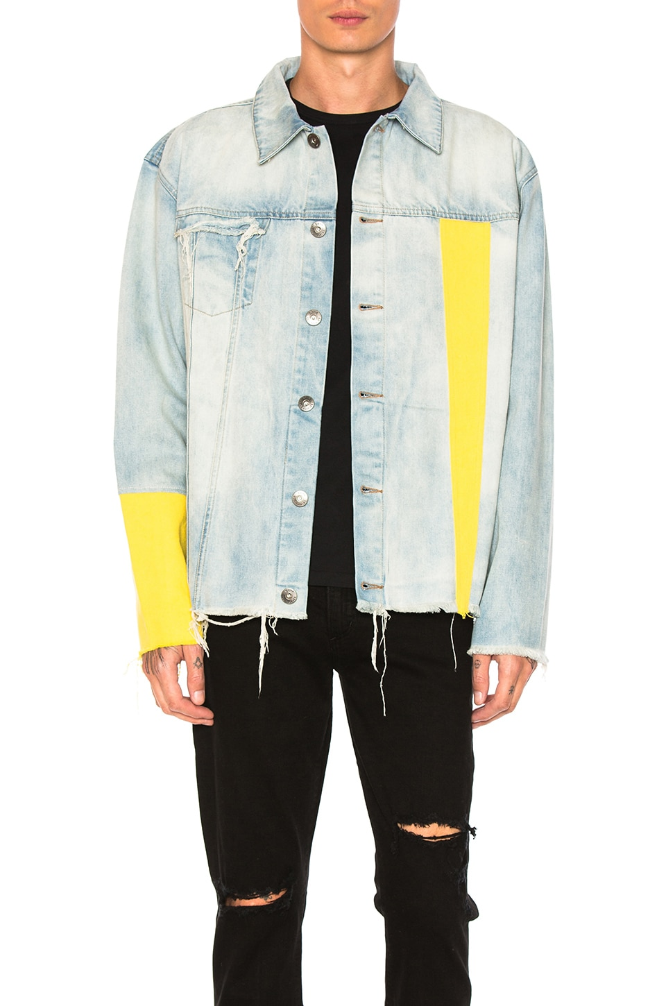 Photo of Yellow Sleeve Denim Jacket by C2H4 men clothes