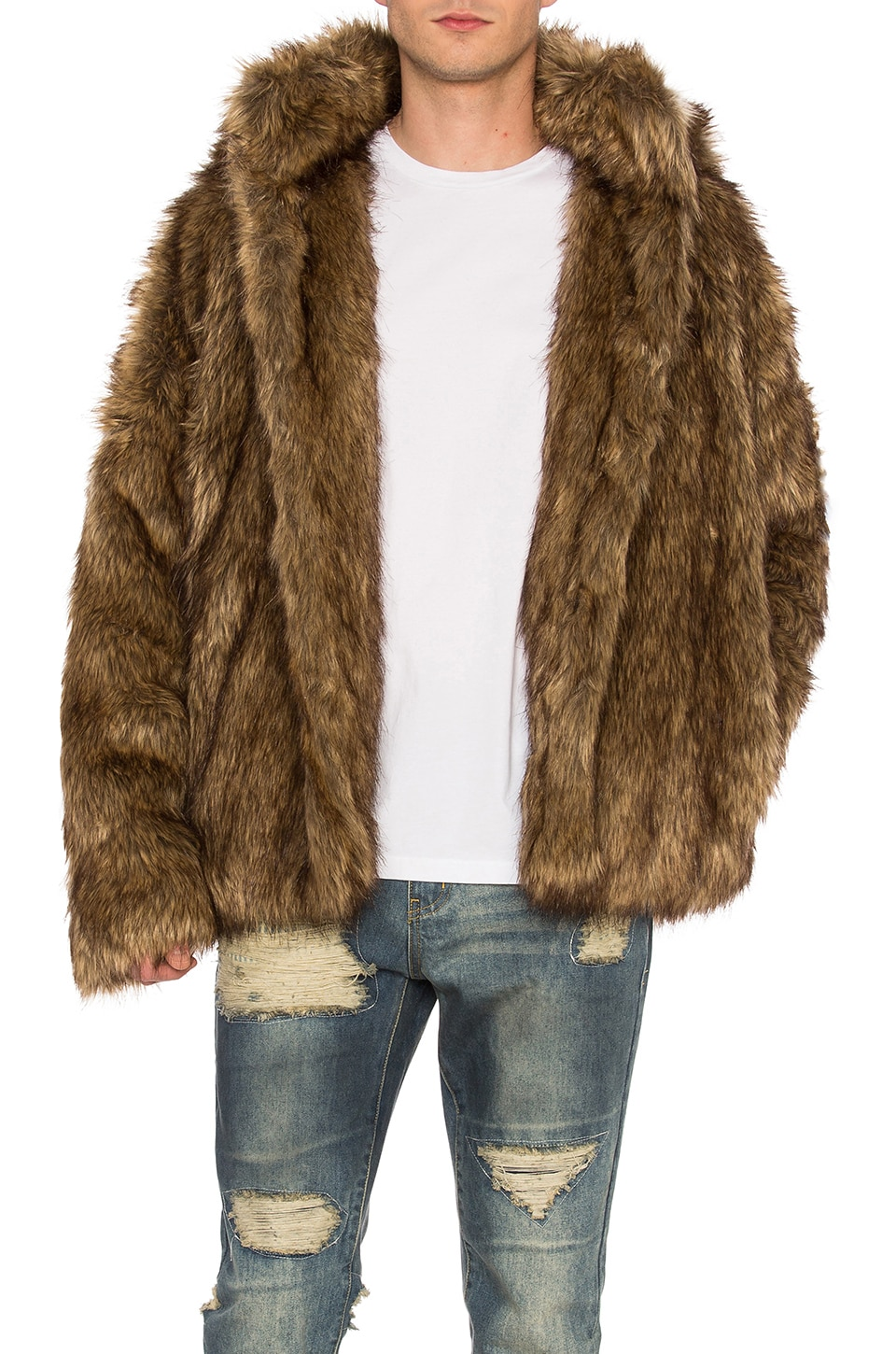 C2H4 Faux Fur Jacket in Brown