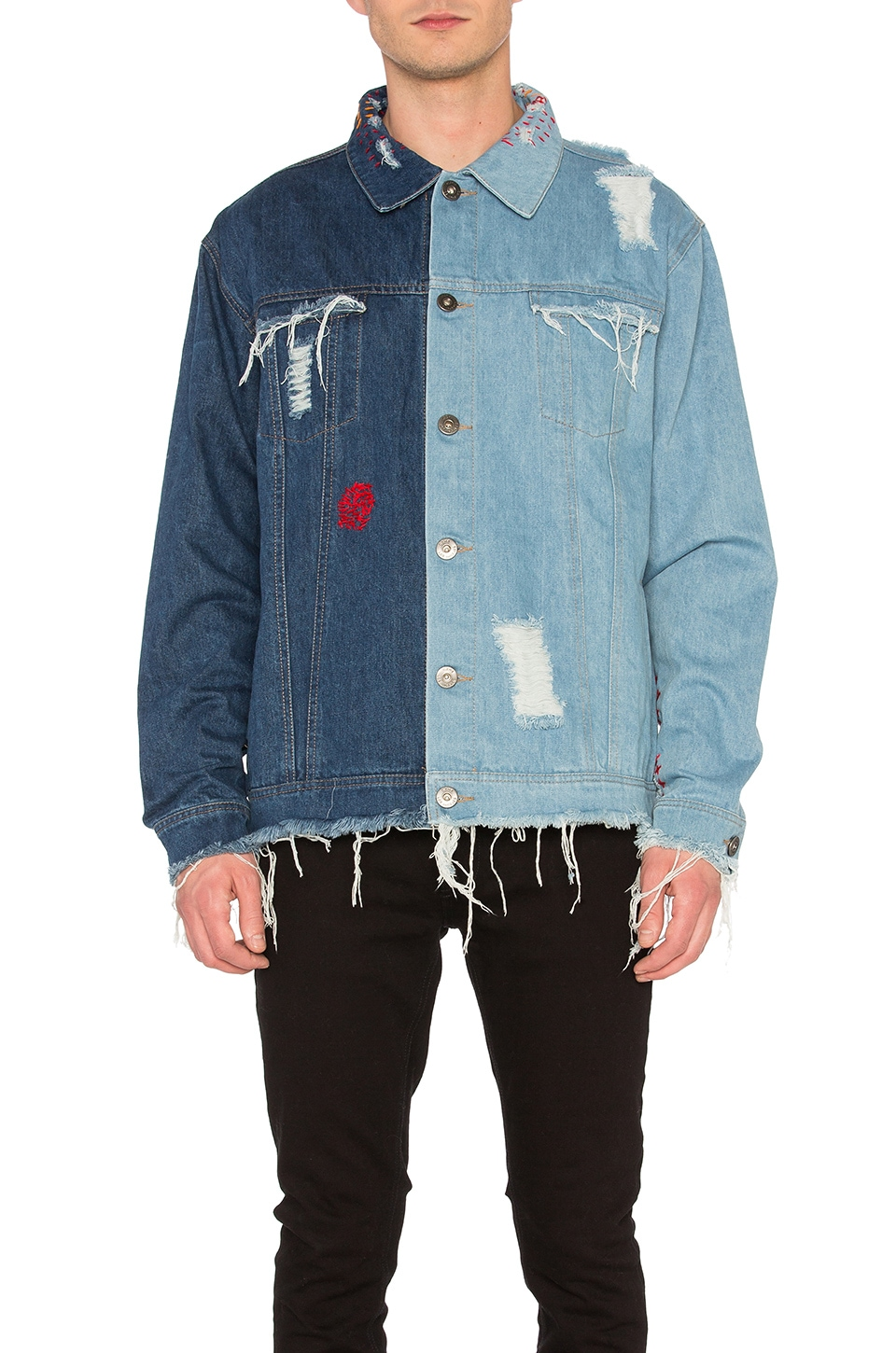 Contrast Distressed Denim Jacket by C2H4