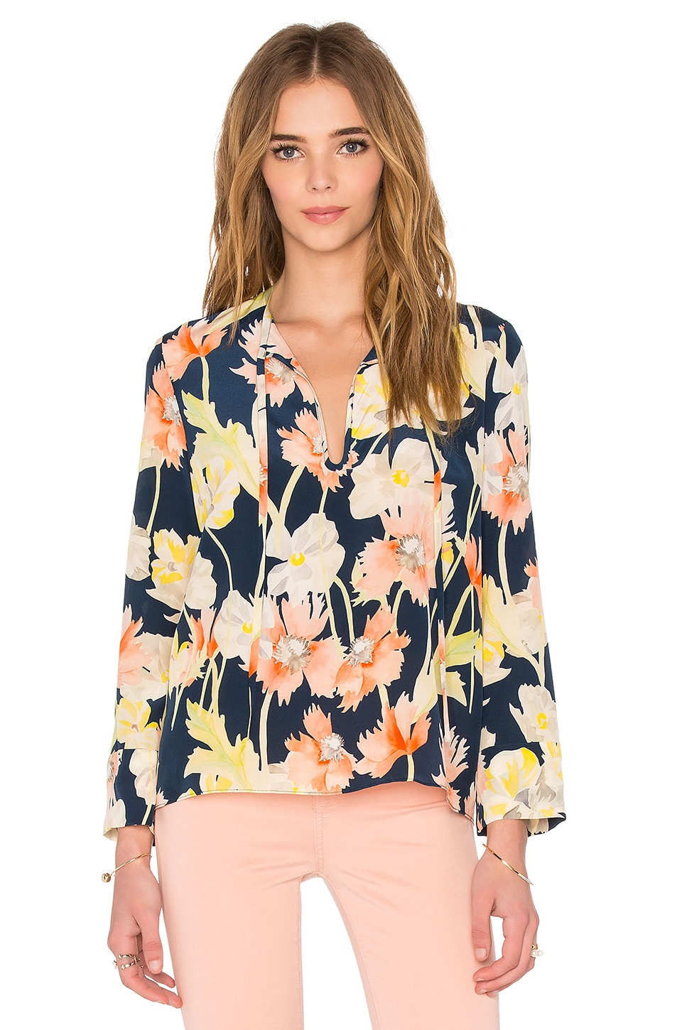 cacharel Tie Neck Blouse in Large Floral