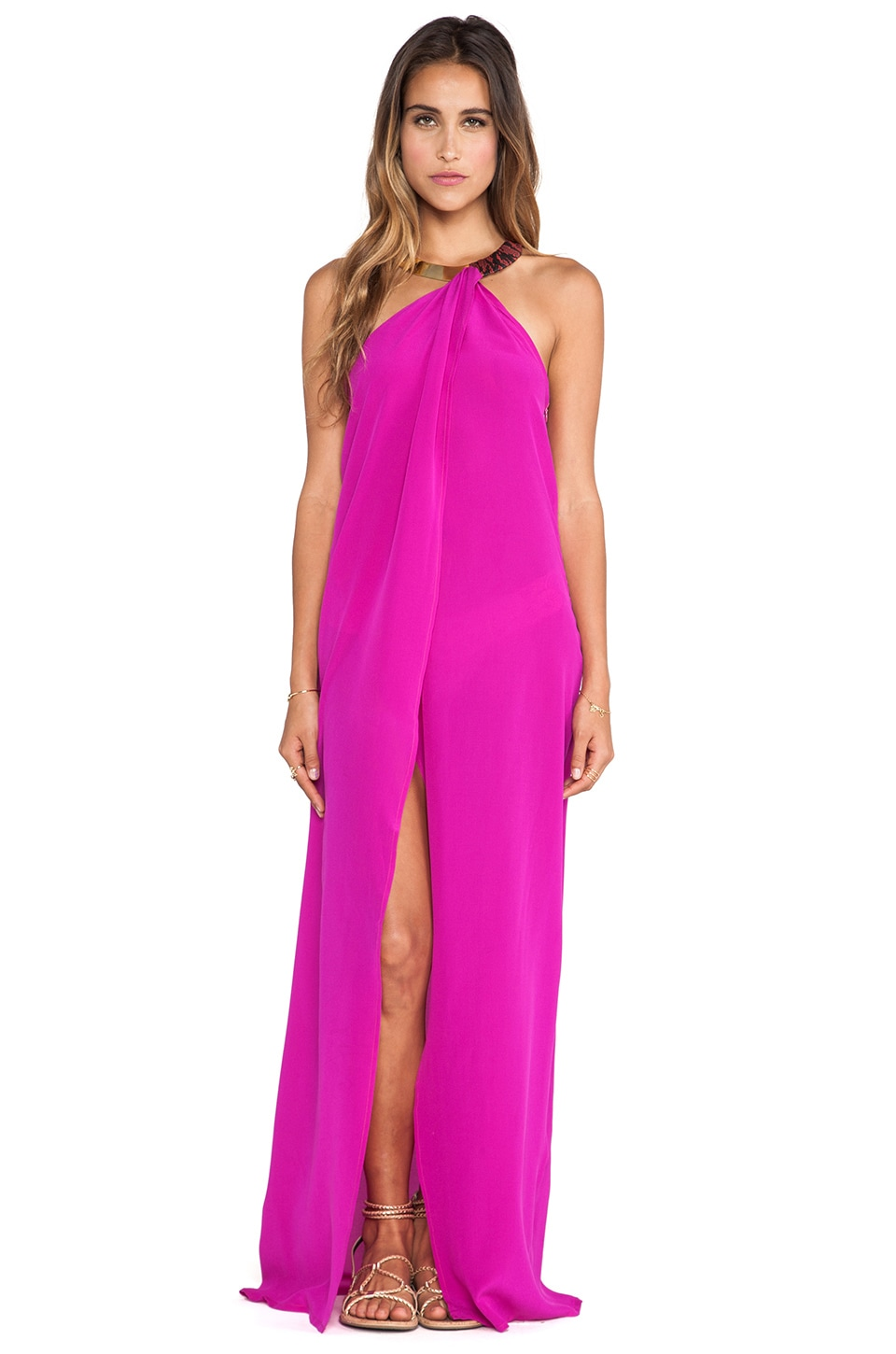 Caffe Maxi Dress in Fuschia
