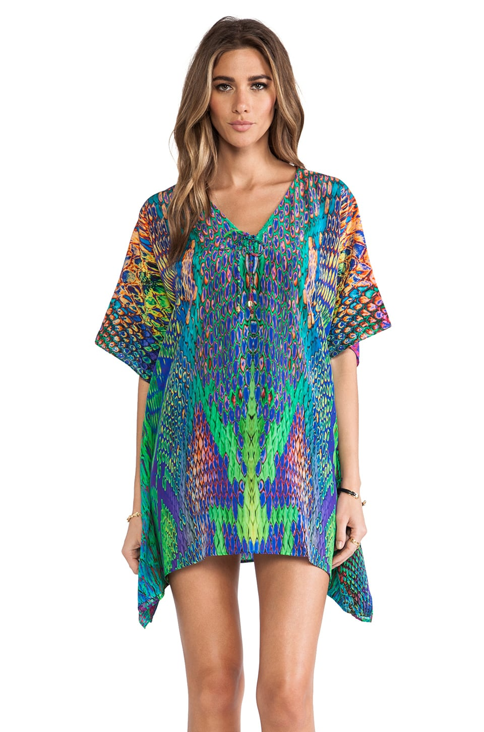 Caffe Mini Caftan in Neon Snake