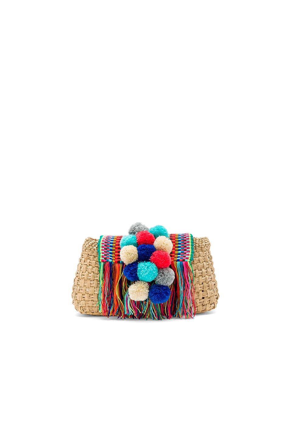 Caffe Pom Pom Clutch in Natural