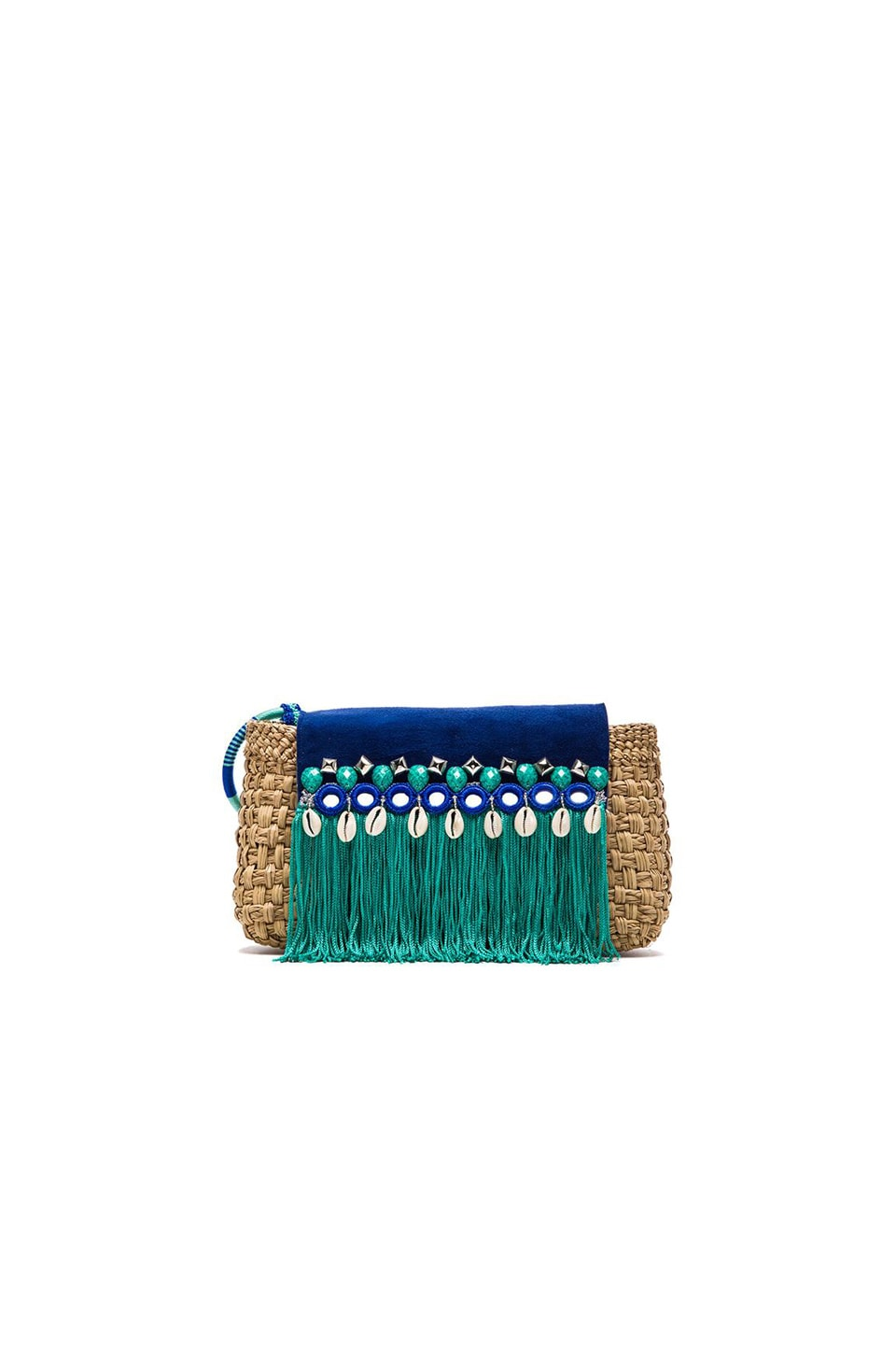 Caffe Woven Clutch in Turquoise & Natural