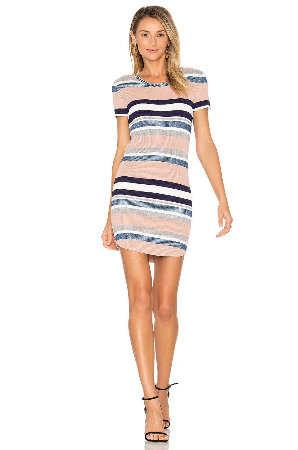 Callahan Stripe Cap Sleeve Dress in Multi