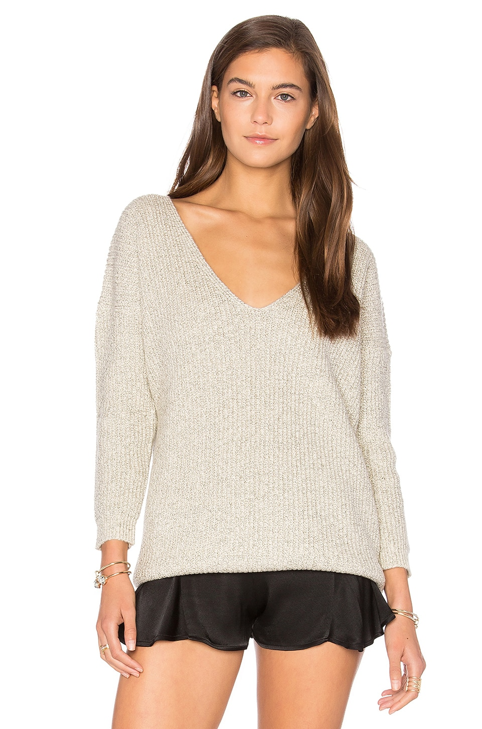 Callahan x REVOLVE Heathered V Neck Sweater in Heather Gray