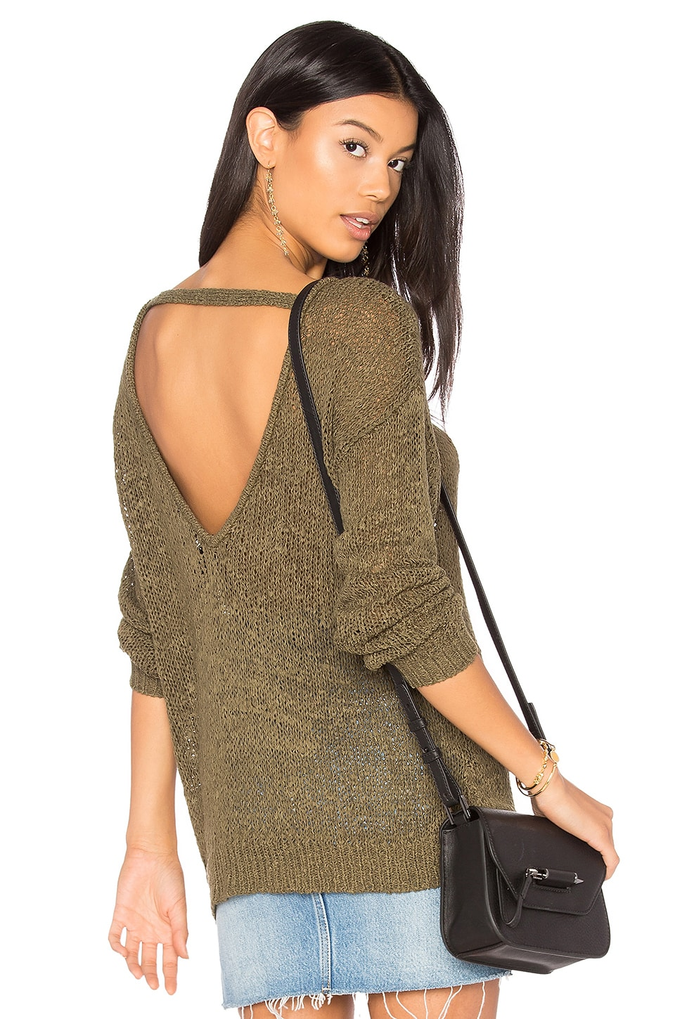 Callahan V Back Sweater in Army