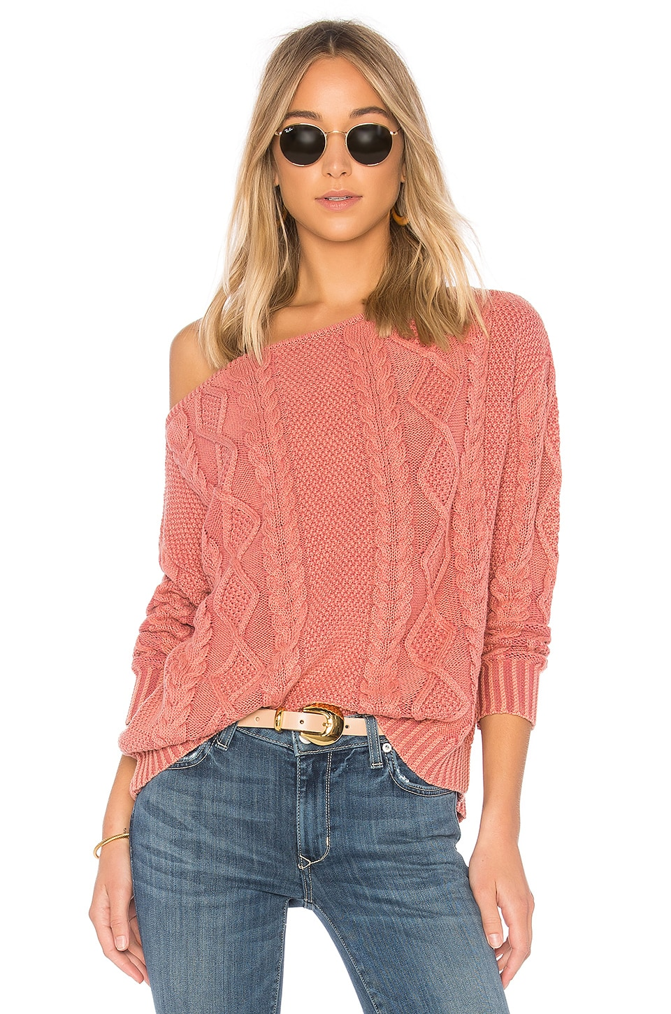 Callahan Cable Knit Off the Shoulder Sweater in Rose | REVOLVE