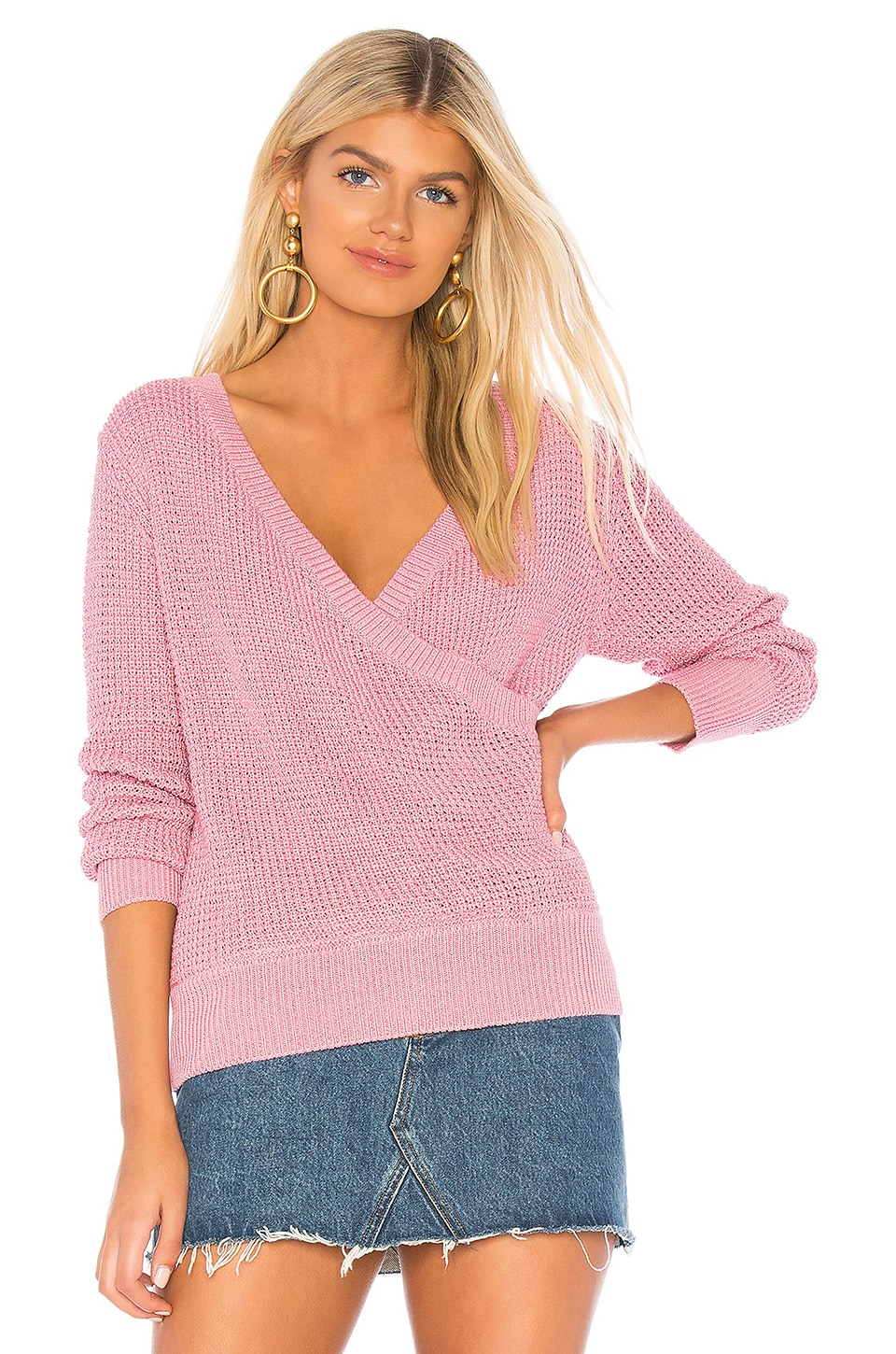 Callahan X REVOLVE Waffle Deep Wrap Sweater in Soft Orchid