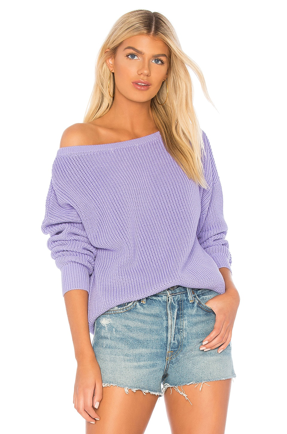 Callahan X REVOLVE Shaker Knit Off Shoulder Sweater in Lavender