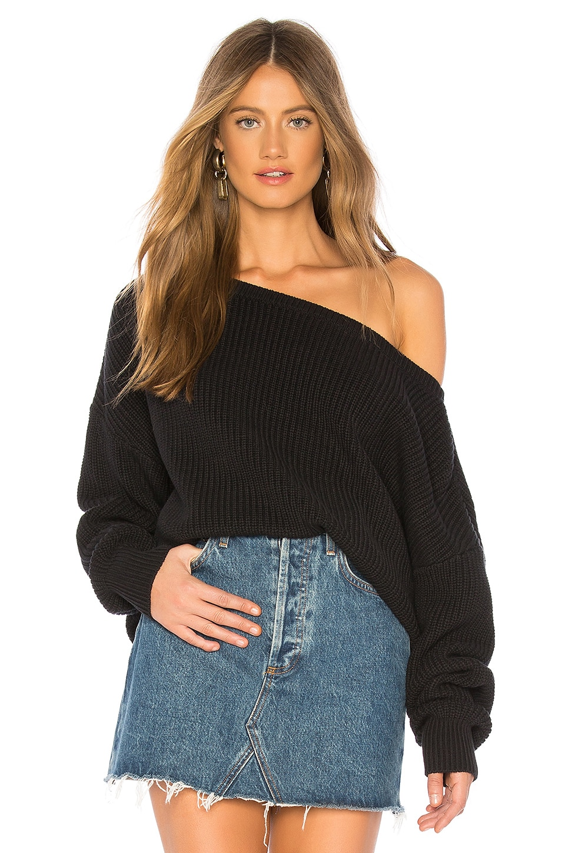 Callahan X REVOLVE Shaker Knit Off Shoulder Sweater in Black