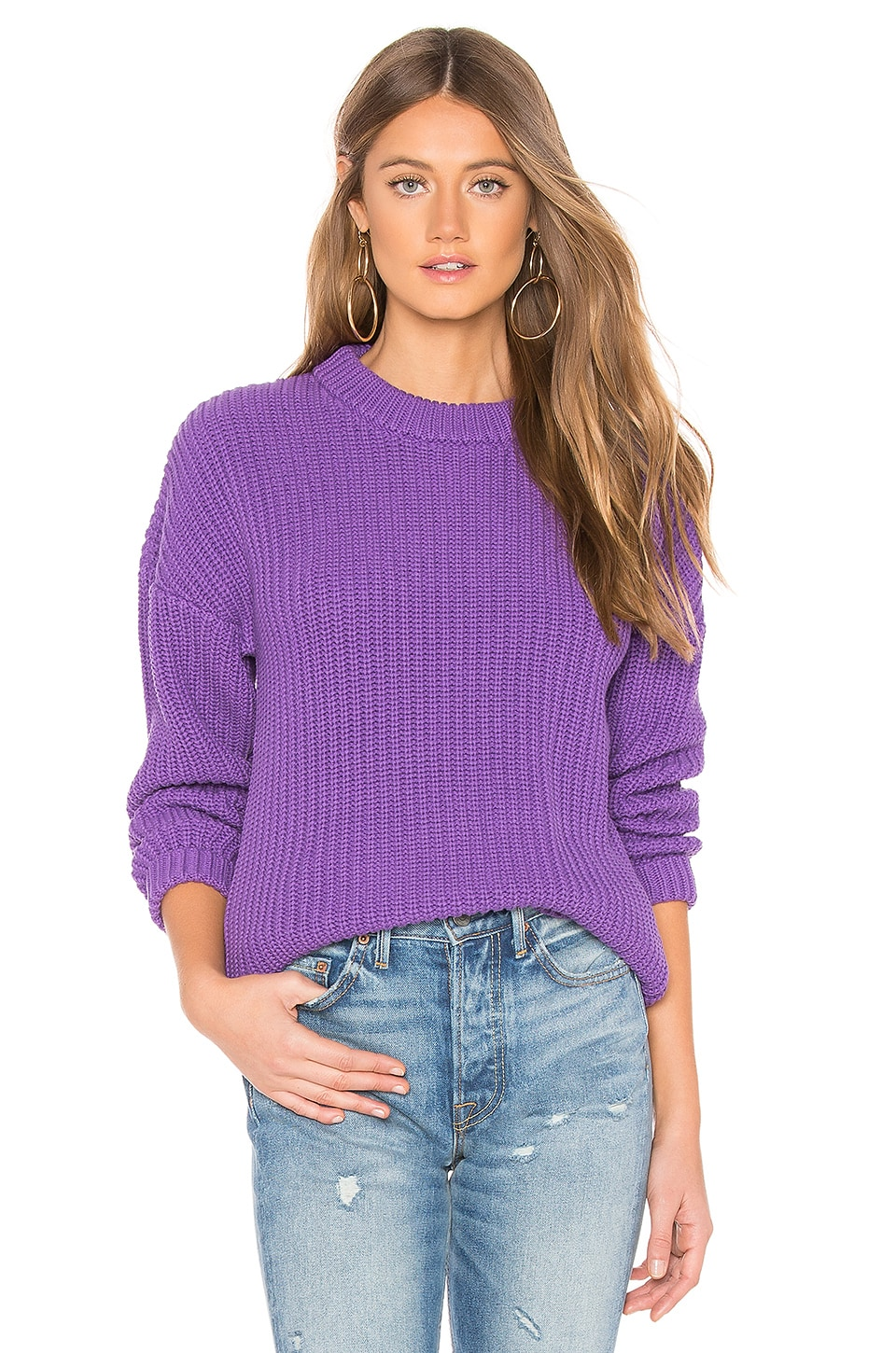 CALLAHAN X Revolve Shaker Boyfriend Sweater in Purple