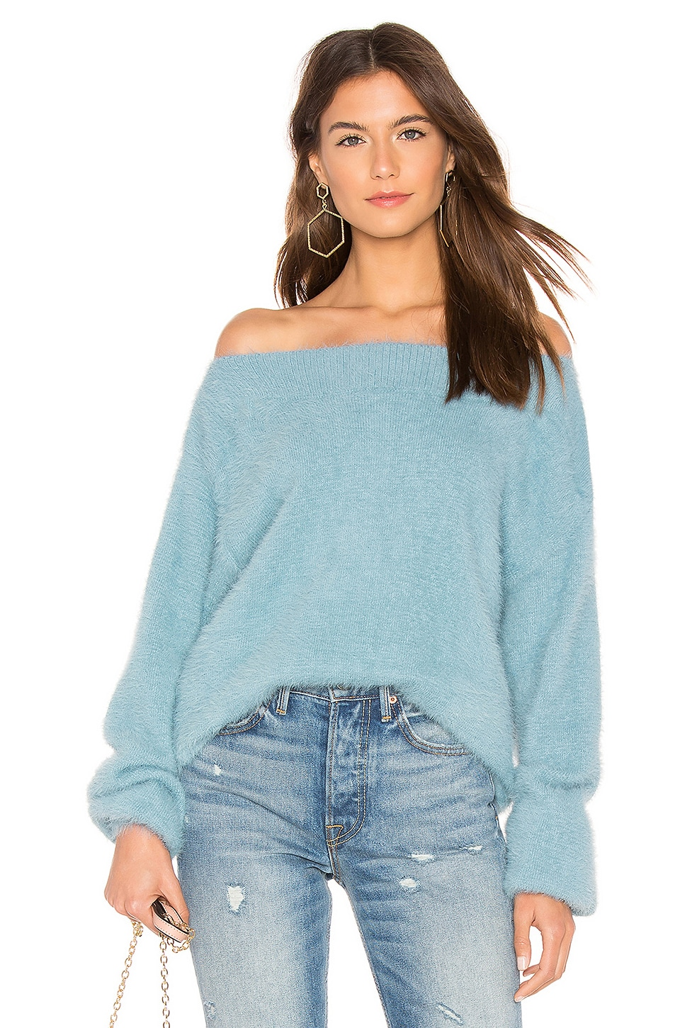 CALLAHAN Finn Off The Shoulder Sweater in Blue
