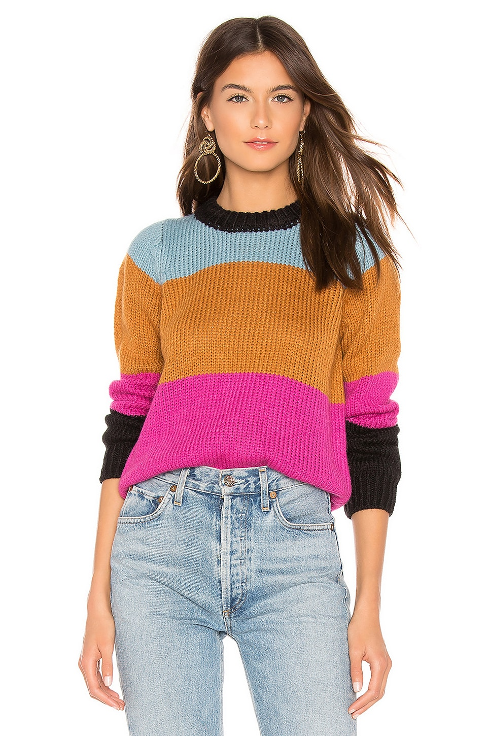 CALLAHAN Vera Stripe Sweater in Burnt Orange