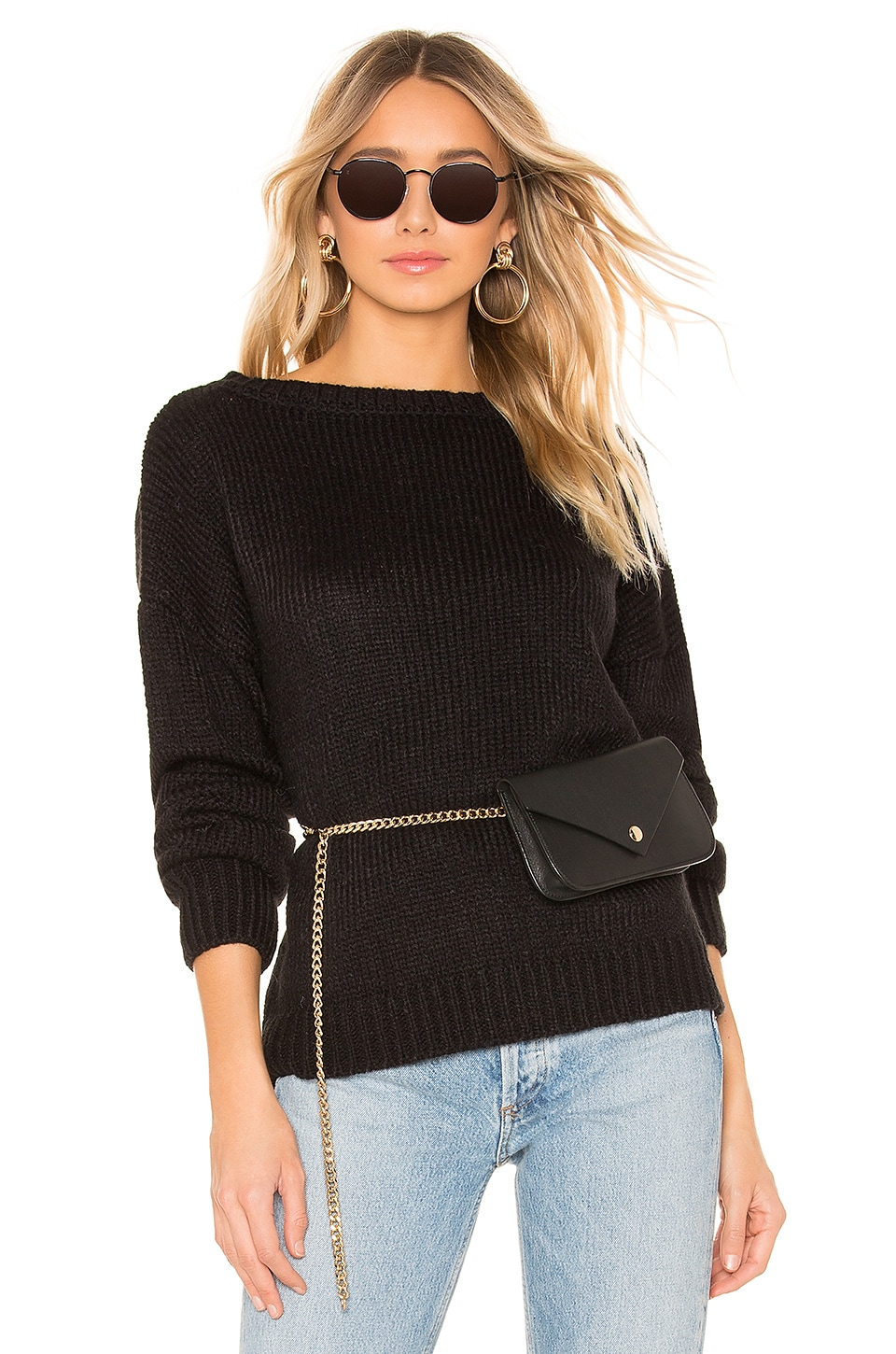 CALLAHAN Lina Off The Shoulder Sweater in Black