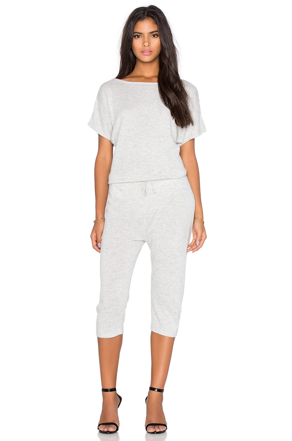 Callahan V Back Jumpsuit in Heather Grey