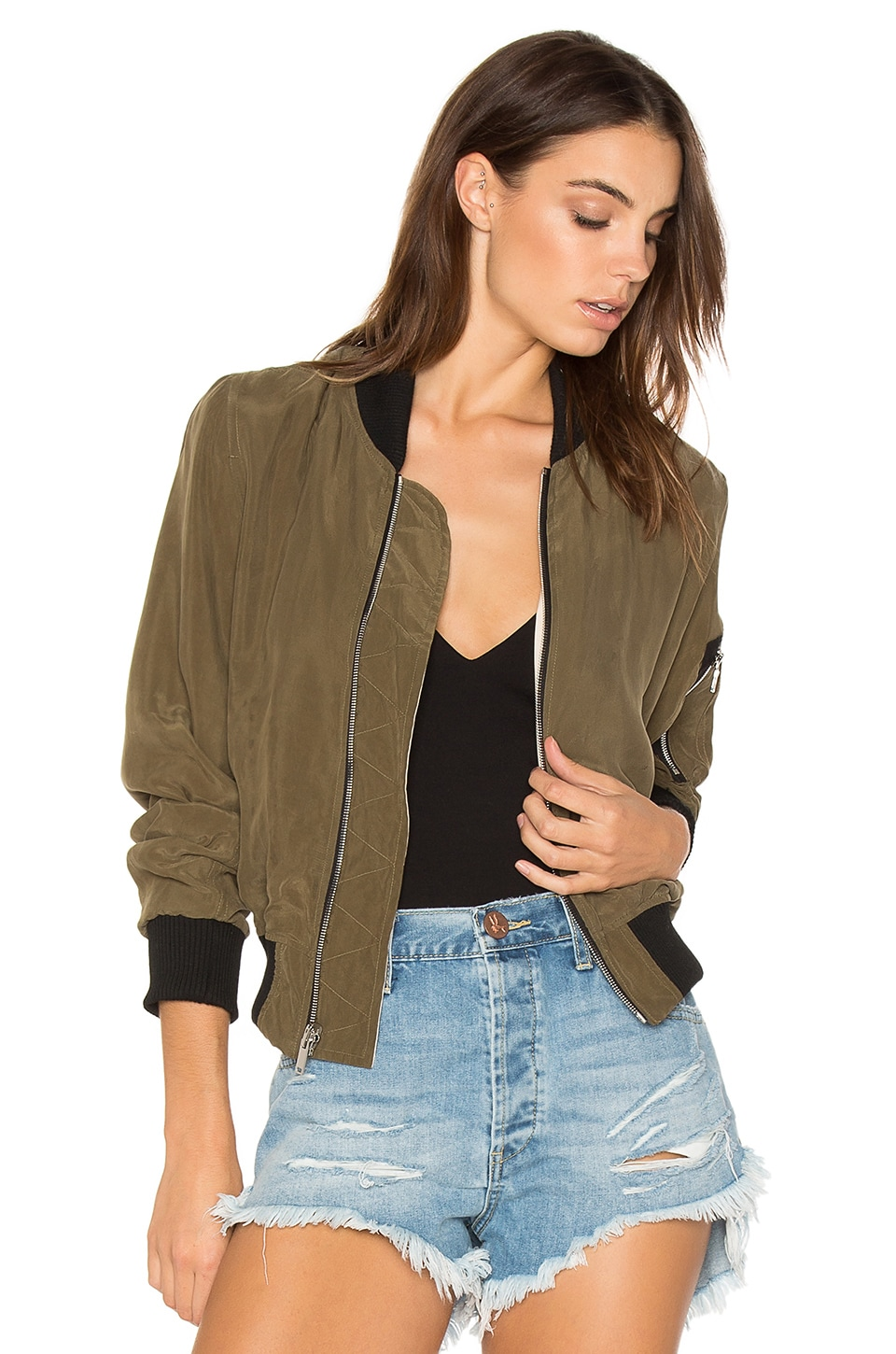 Calvin Rucker Fast Reversible Bomber Jacket in Olive & Blush
