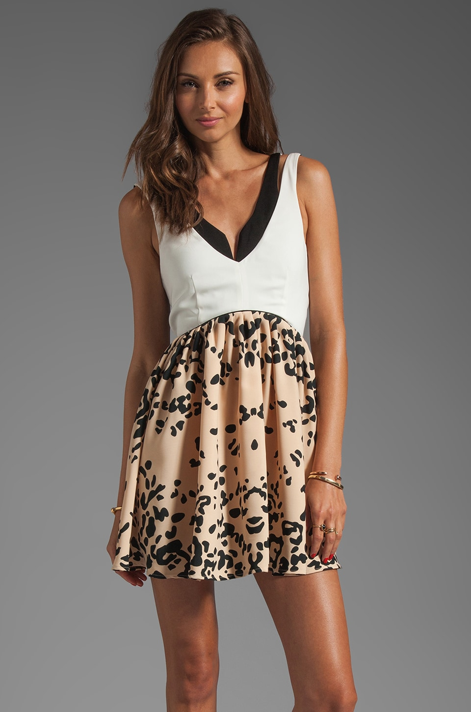 C/MEO Gotta Have It Dress in Leopard/Ivory/Black
