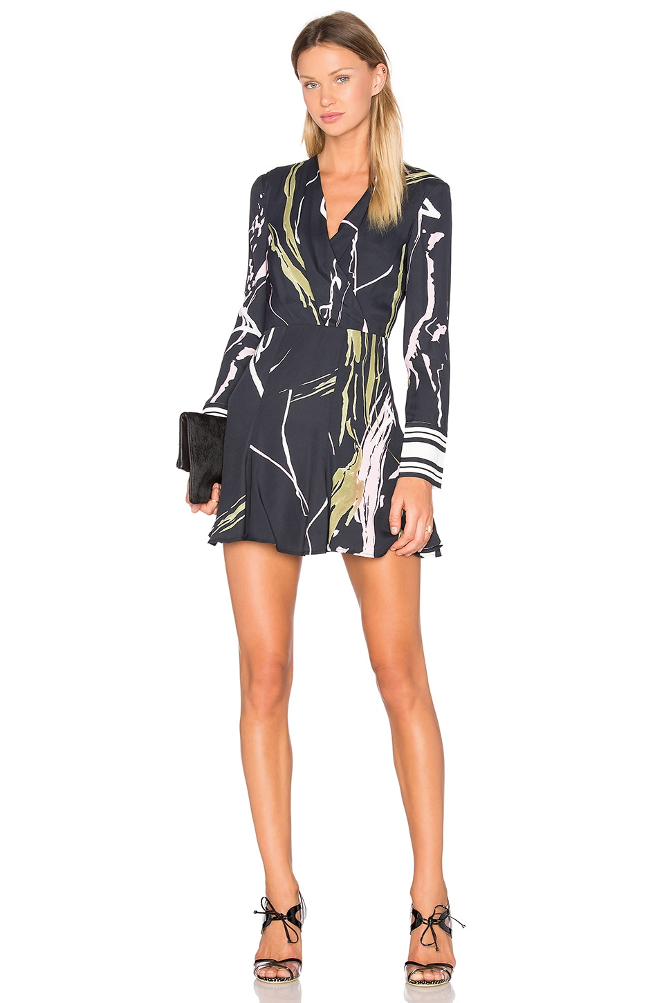 C/MEO Been There Dress in Black Scarf Print