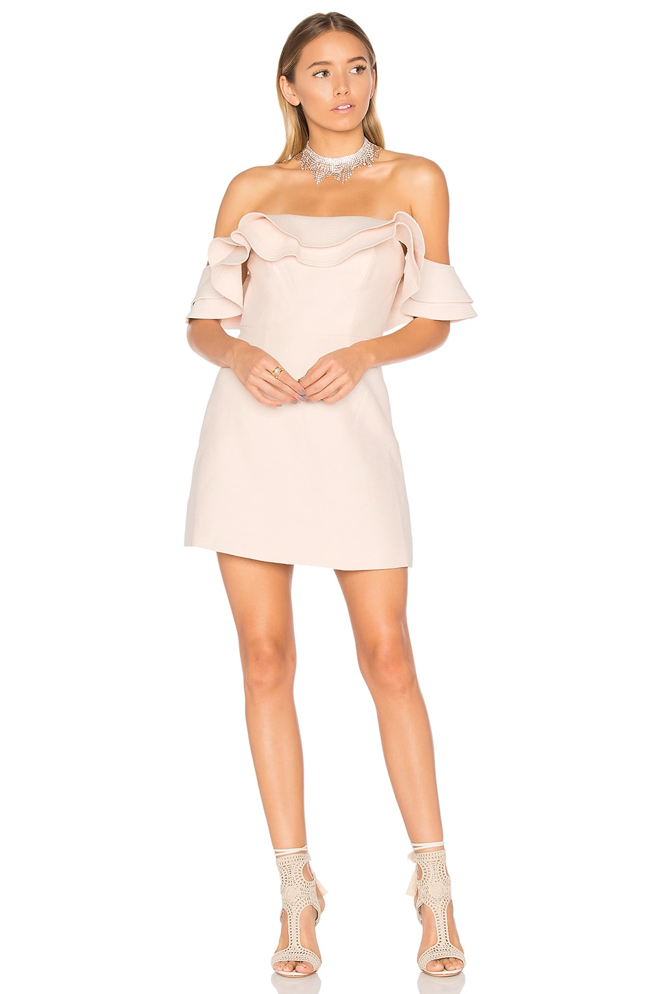 C/MEO First Impression Mini Dress in Blush