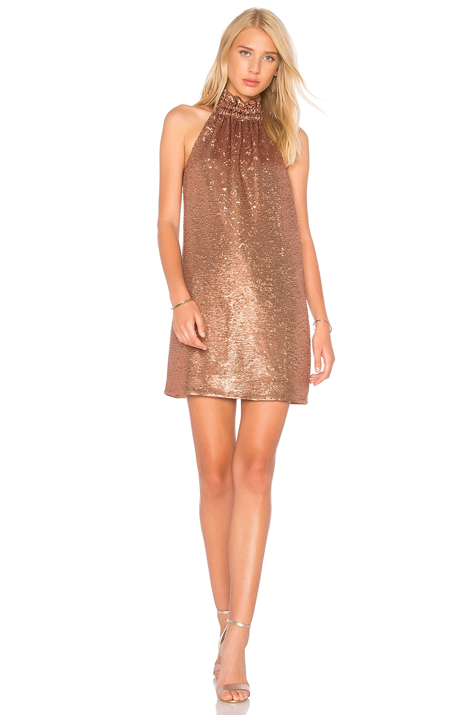 C/MEO Illuminated Mini Dress in Copper