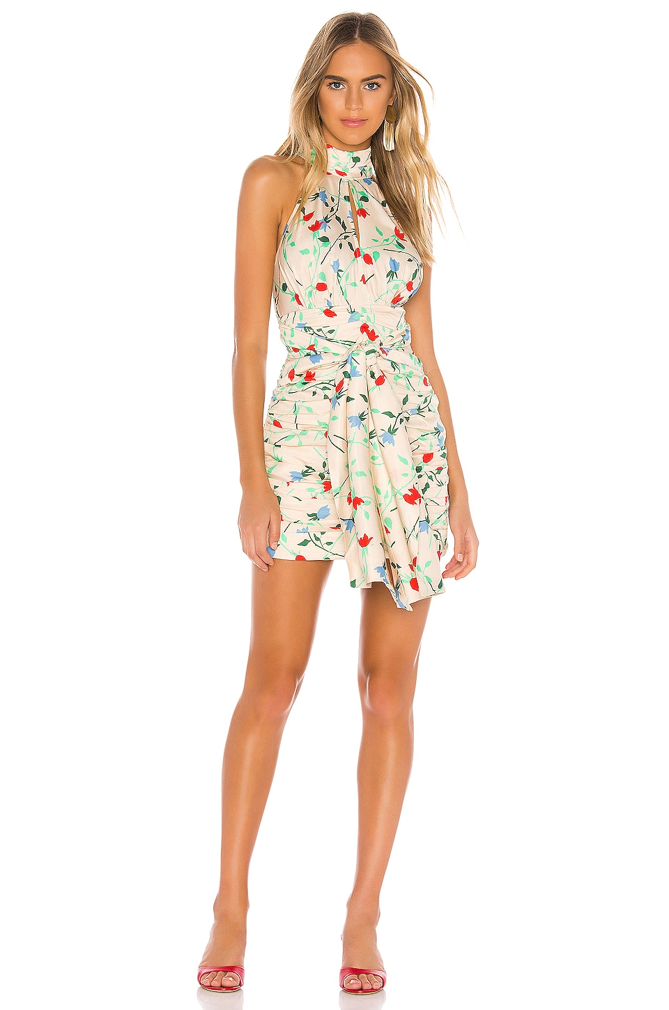 C/MEO Sectional Short Sleeve Dress in Apricot Floral