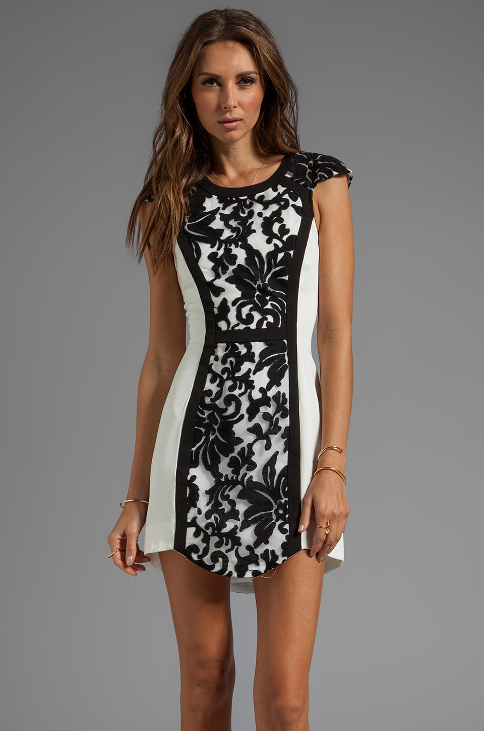 C/MEO Into the Flame Dress in White/Black