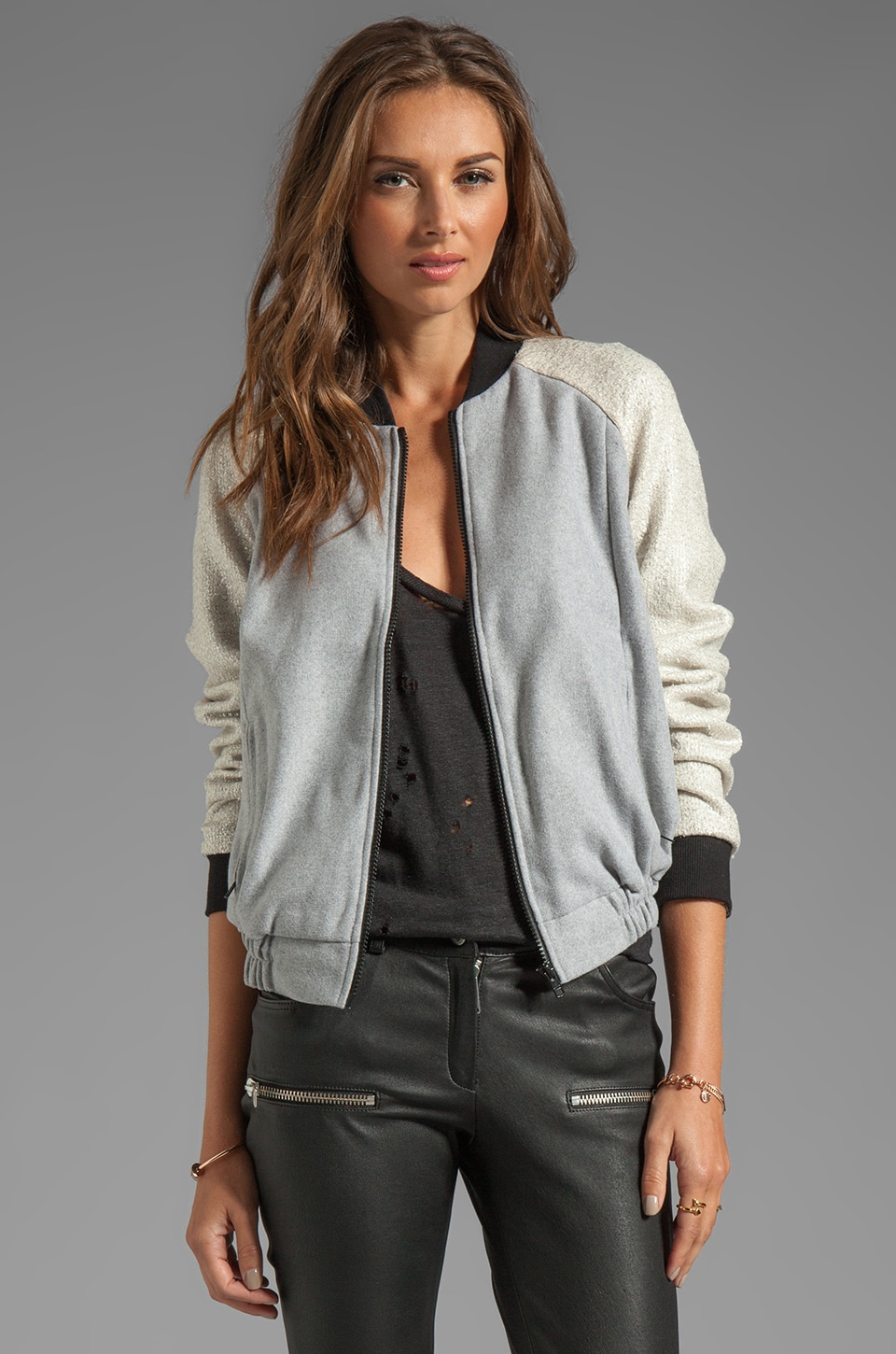 C/MEO Ask Me Anything Bomber Jacket in Willow Grey/Silver
