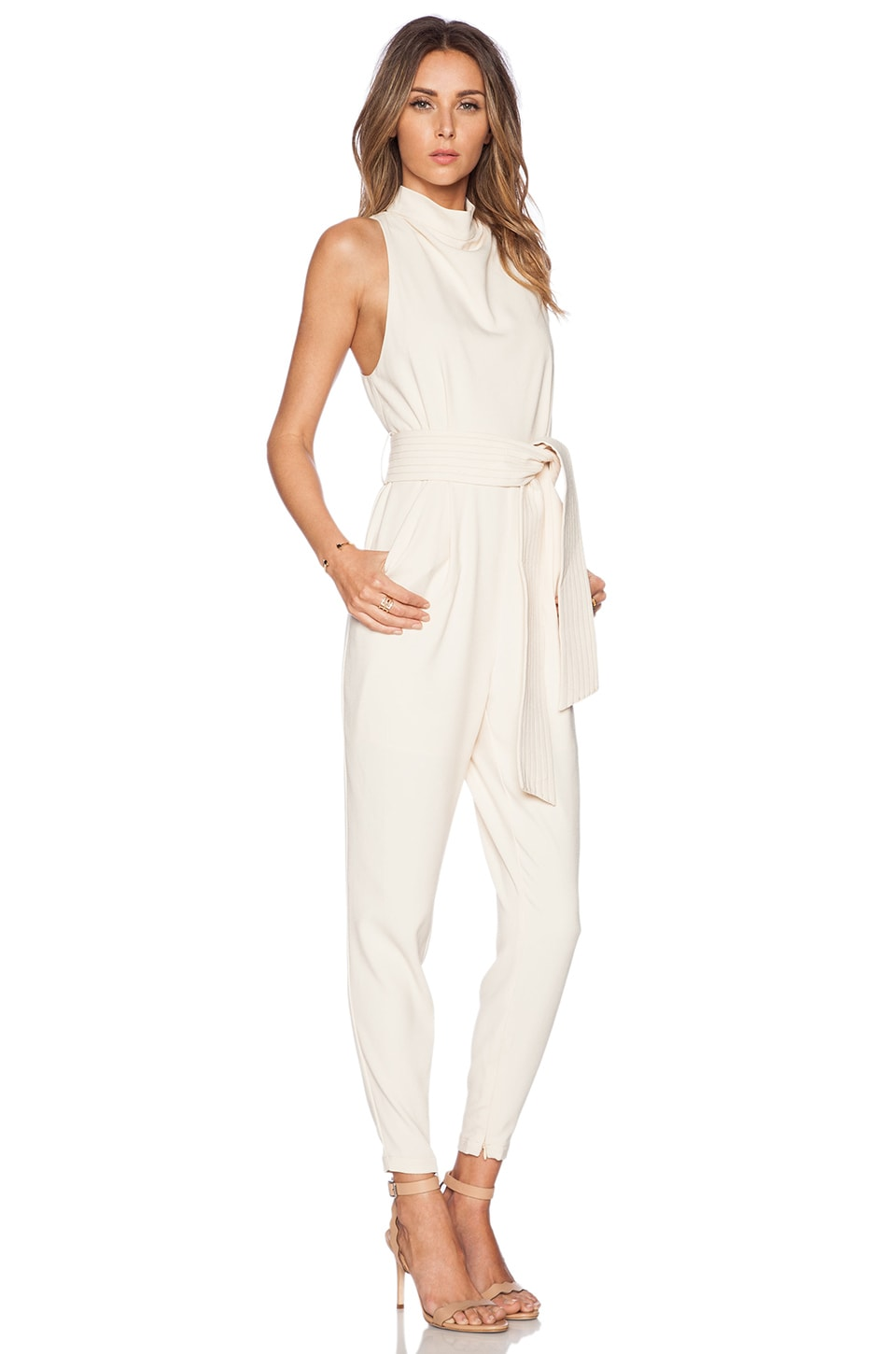 c meo chicago pantsuit in shell revolve