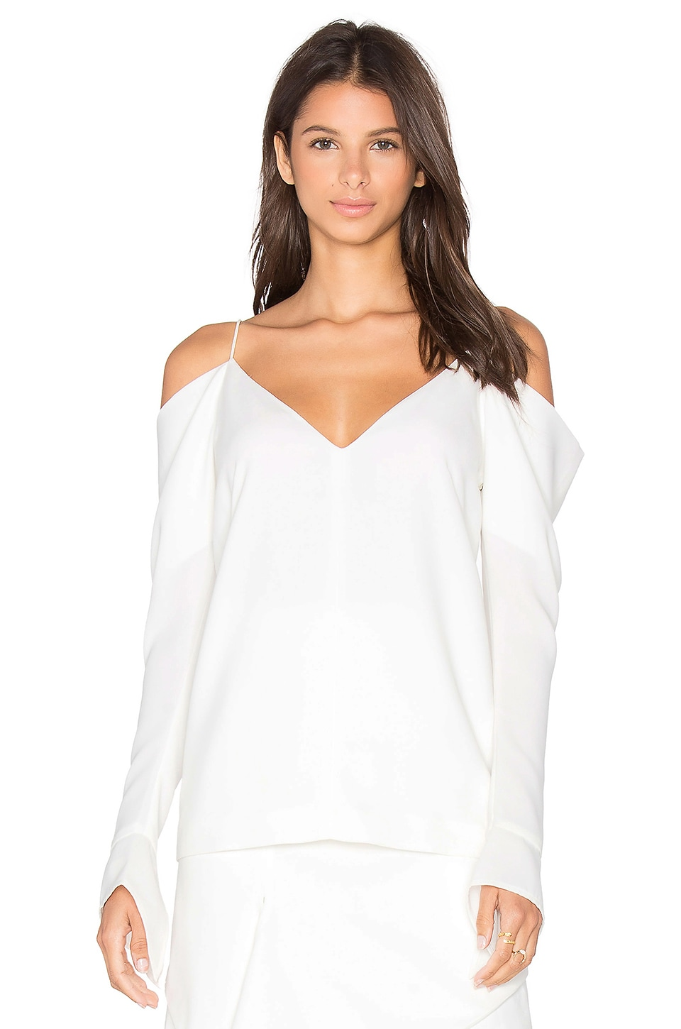 C/MEO Cold Shoulder Long Sleeve Top in Ivory