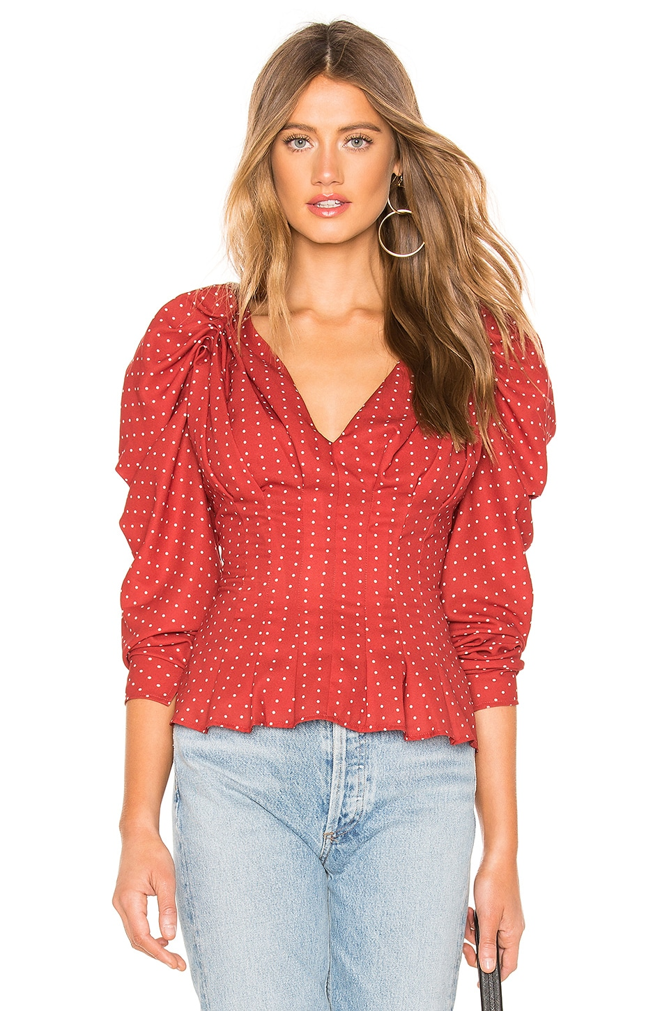 C/MEO Vices Long Sleeve Top in Red Spot