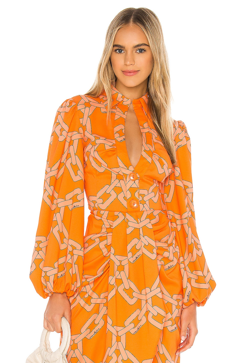C/MEO Mornings Blouse in Tangerine Chain