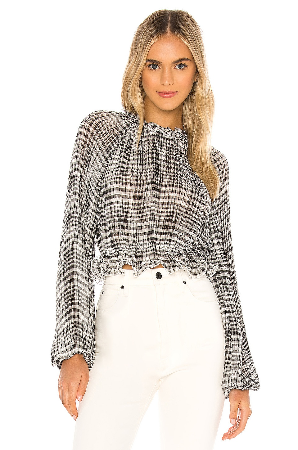 C/MEO Stealing Sunshine Blouse in Black Check