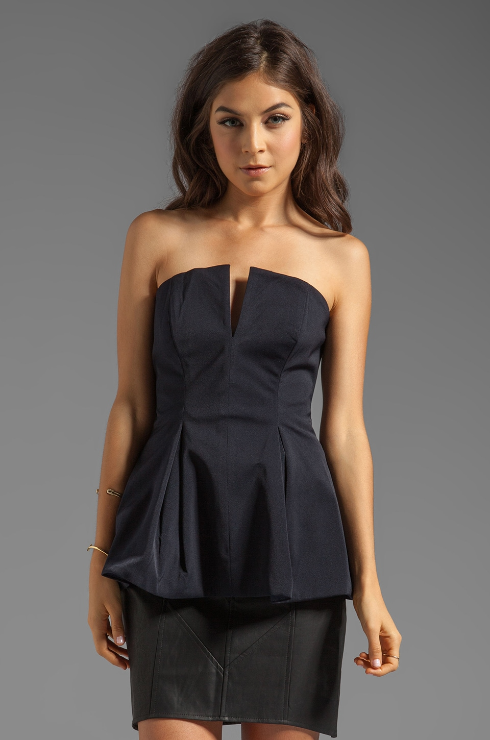 C/MEO Reflection Bustier Top in Navy Blue