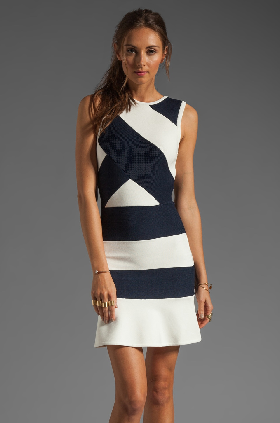 camilla and marc Division Knit Bandage Dress in Navy/White