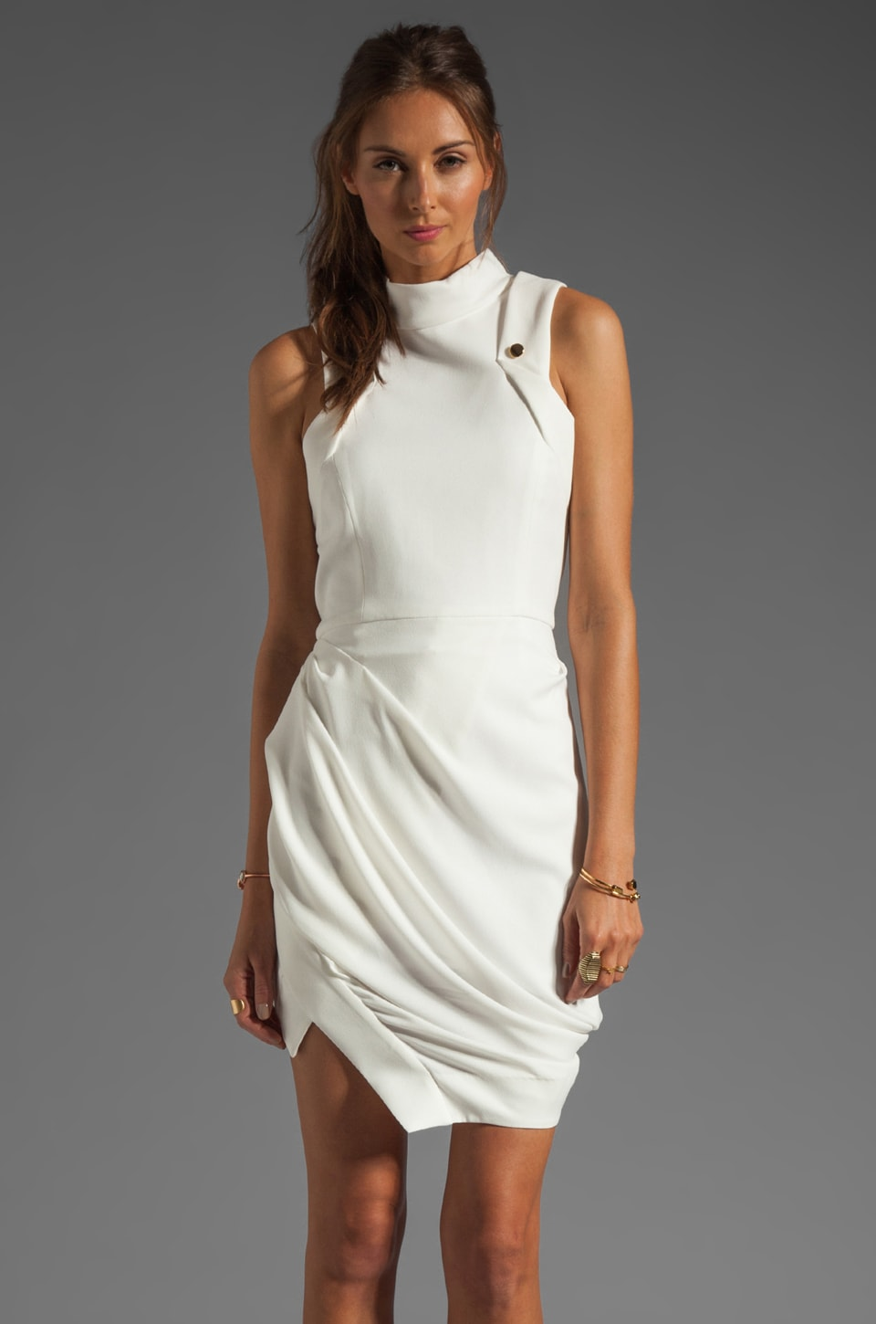 camilla and marc Synonymous Draped Crepe GGT Dress in Ivory