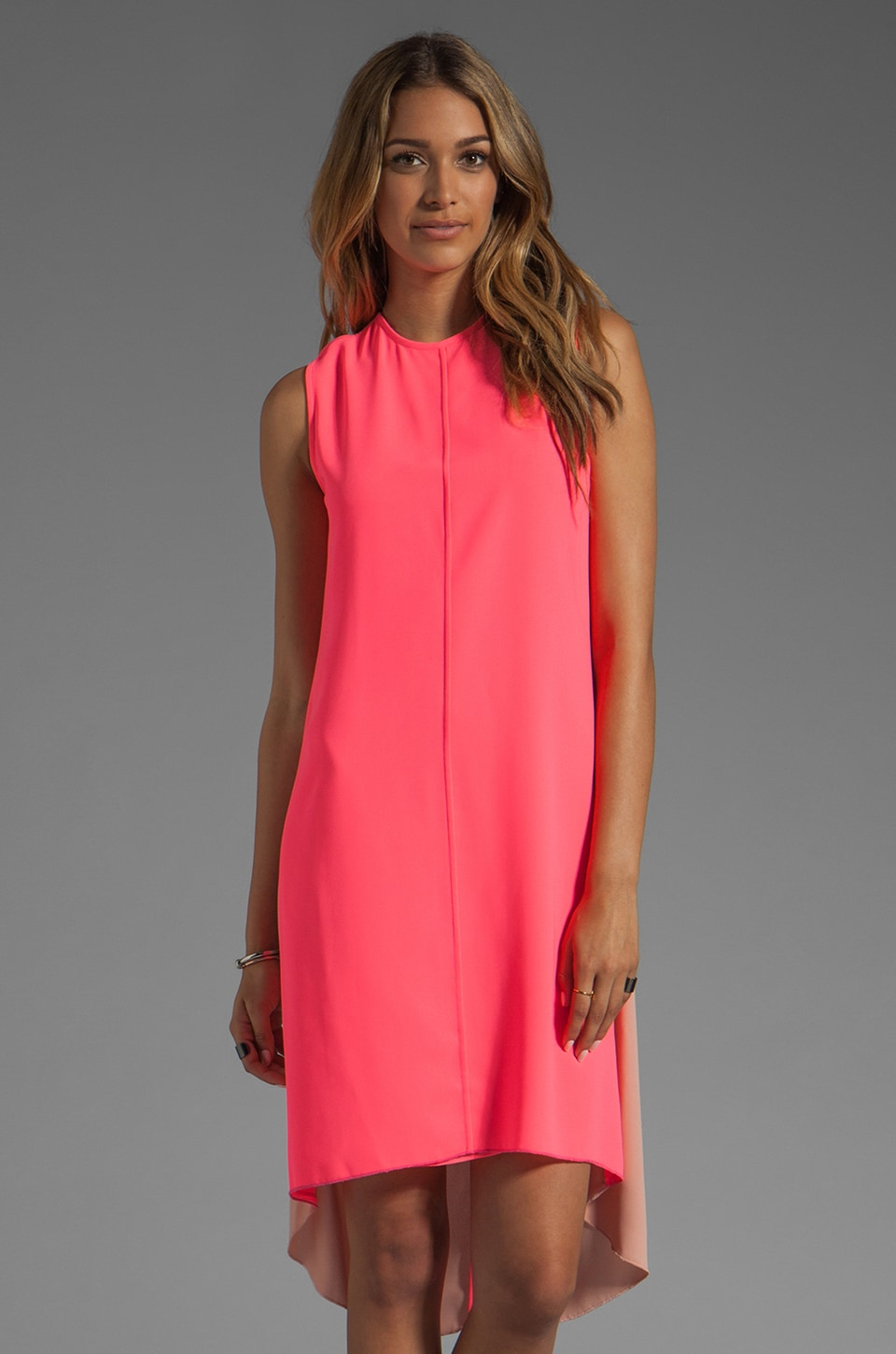 camilla and marc Reflection Diamond Jacquard Dress in Fluoro Pink w/ Nude Back