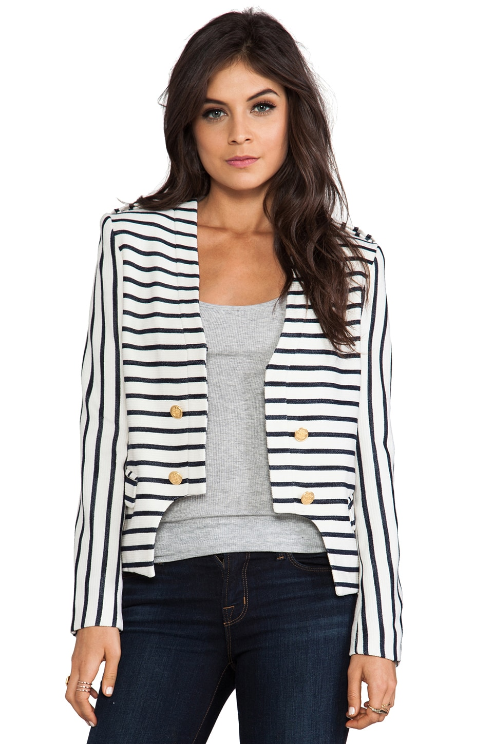 camilla and marc Bowline Striped Blazer en Ivory/Navy Stripe