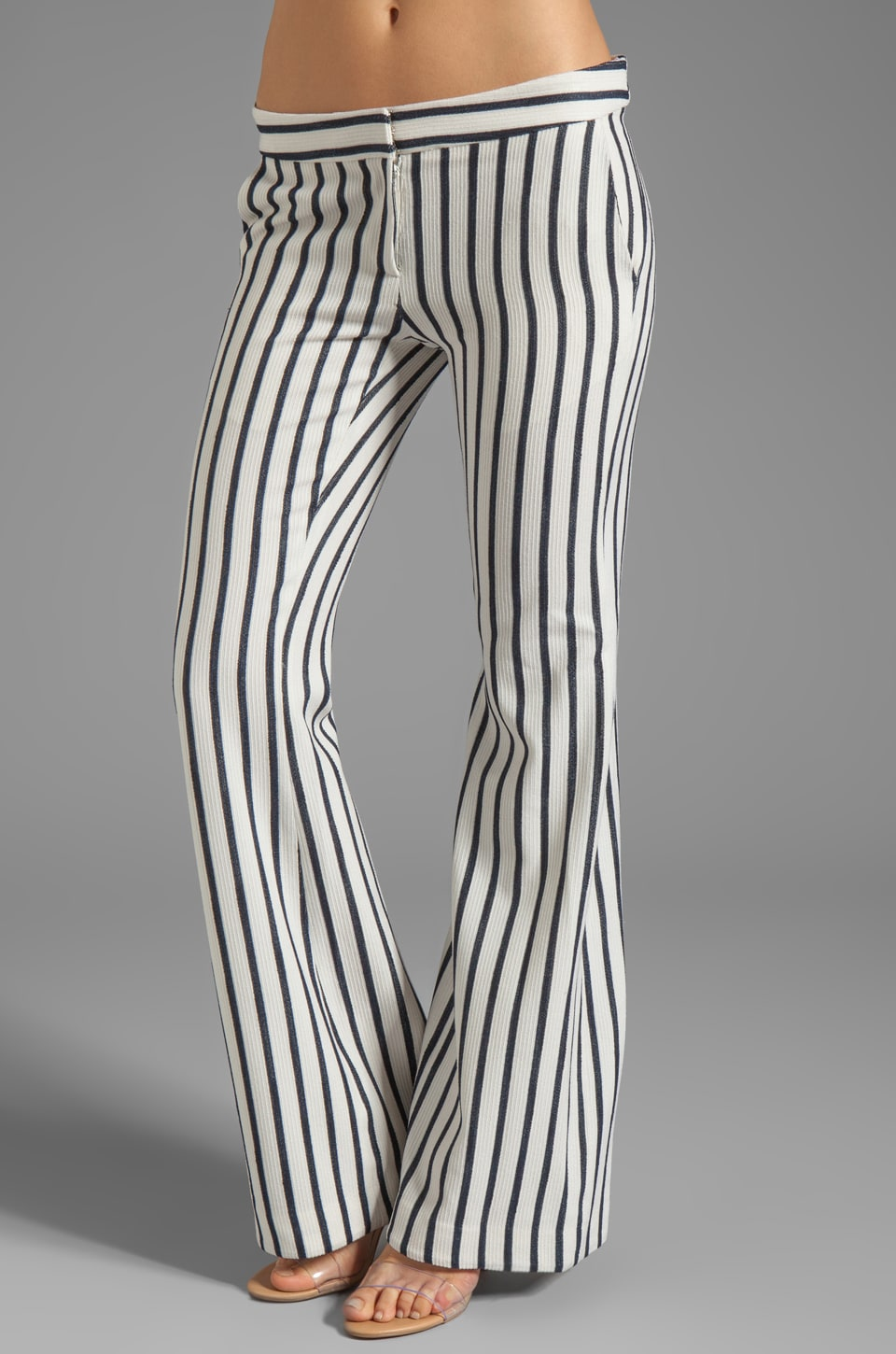 camilla and marc Clipped Striped Trouser in Ivory/Navy Stripe