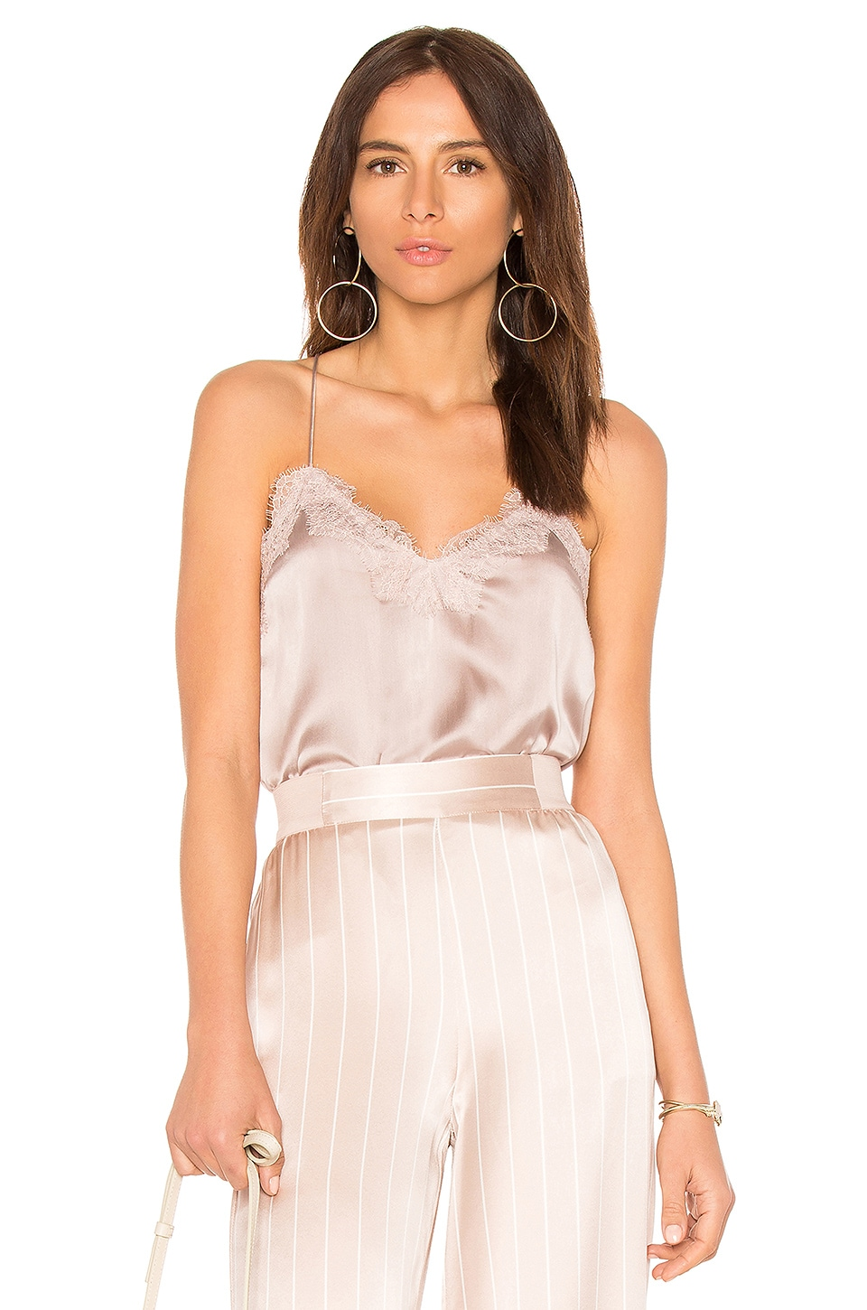CAMI NYC The Racer Charmeuse Cami in Oyster