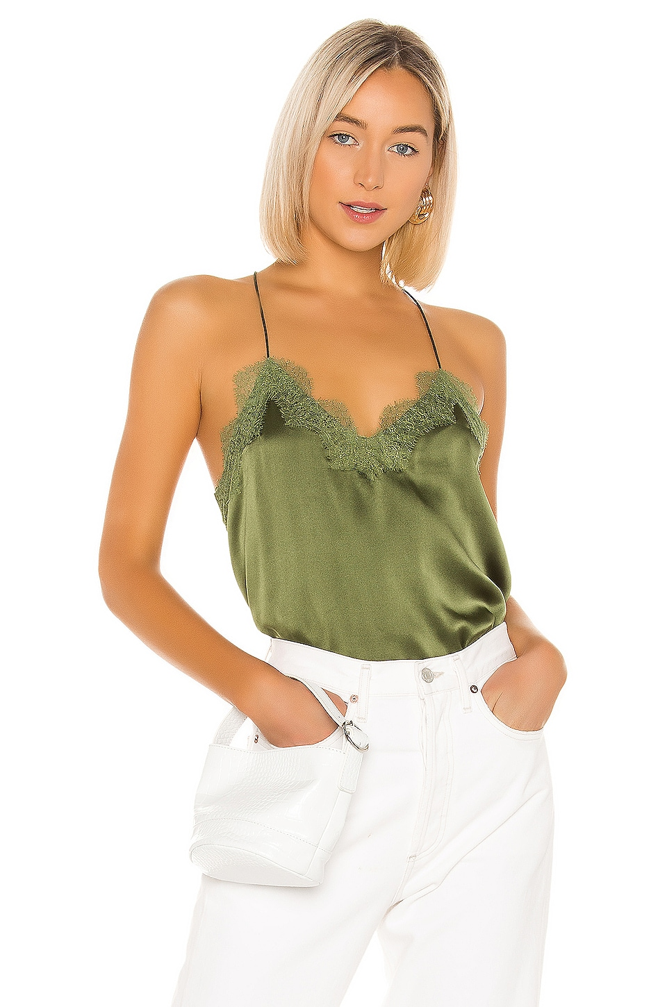 CAMI NYC The Racer Charmeuse Cami in Cactus