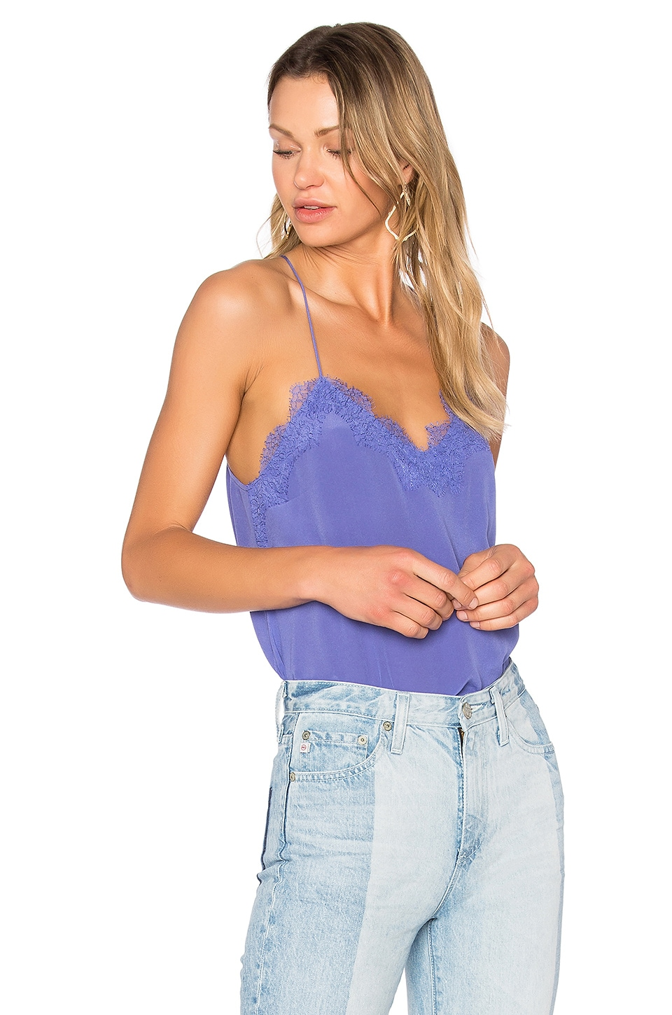 CAMI NYC Racer Lace Cami in Periwinkle