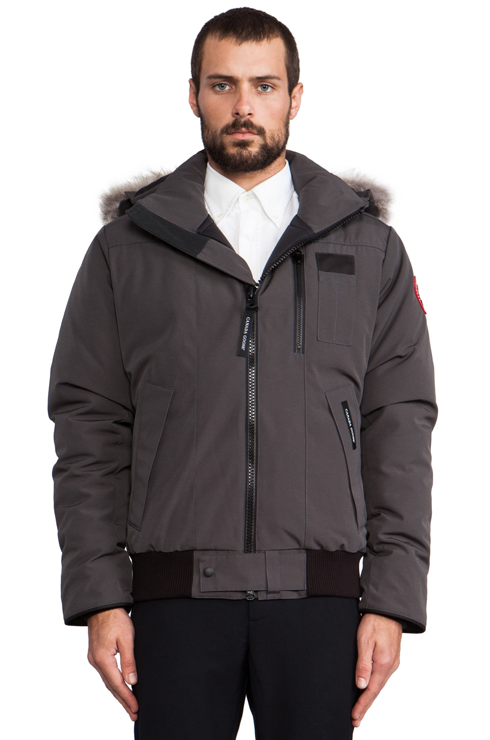 Canada Goose Borden Bomber with Coyote Fur Collar in Graphite