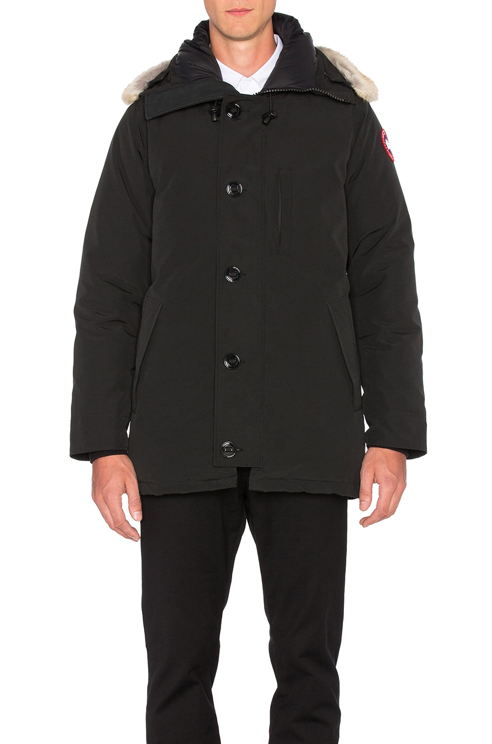 Canada Goose Chateau Coyote Fur Trim Parka in Black