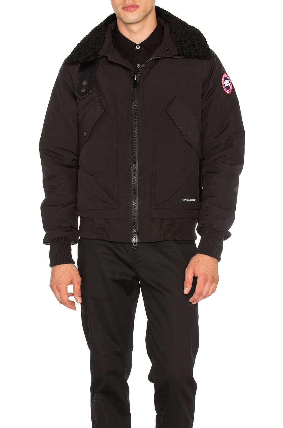 Bromley Dyed Sheep Fur Collar Bomber by Canada Goose