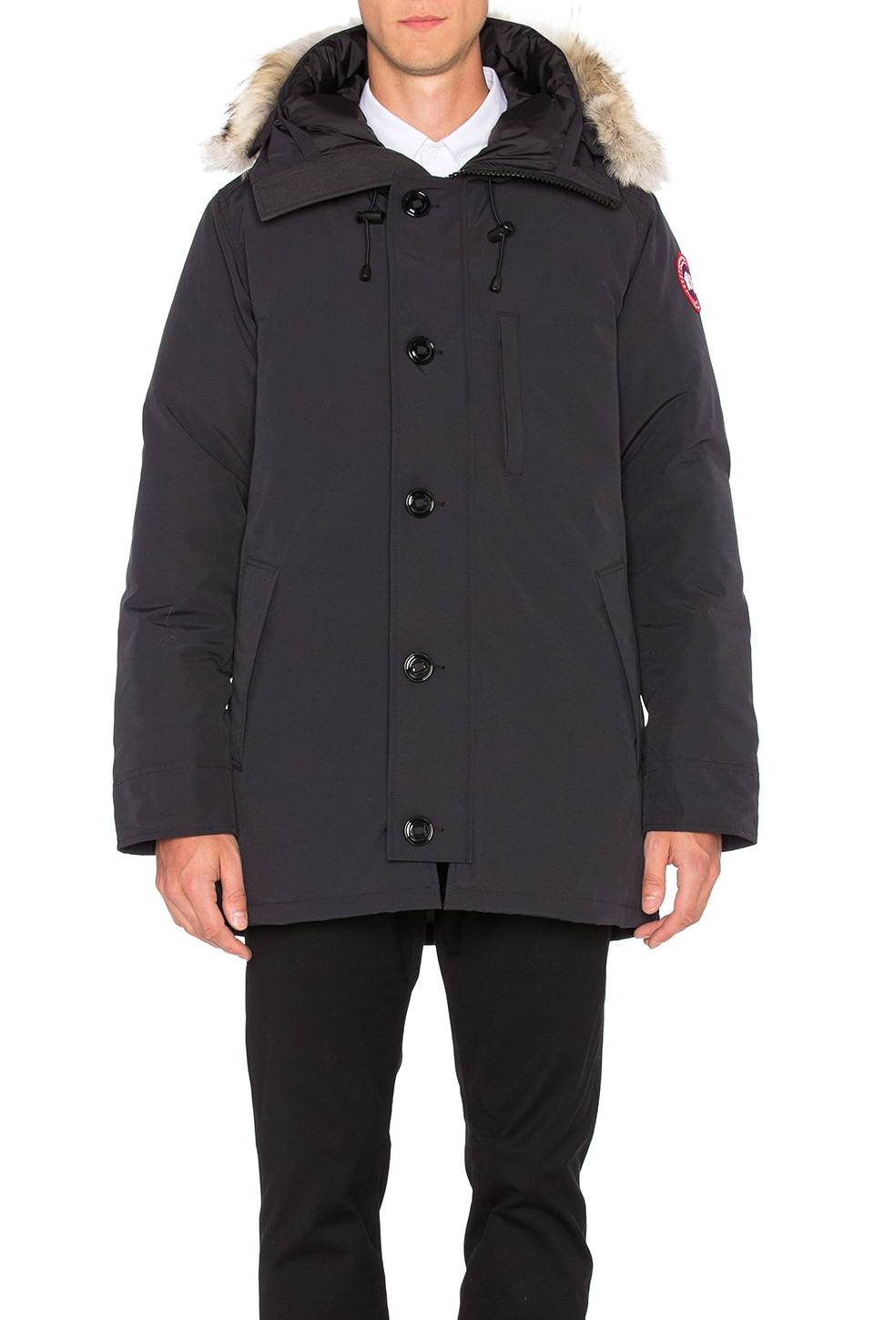 Canada Goose Chateau Coyote Fur Trim Parka in Navy